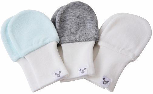 Boy Baby Mittens, blue, grey and white, fits larger hands age 6-12 months, value pack of 3