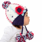 Medium Earflap Beanie - White Pom Pom Hat for Toddler and Kid