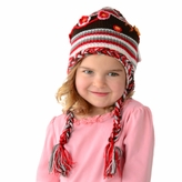 Medium Earflap Hat - Red Hat with flowers for Toddler and Kid