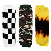 Ollie's Sporty Boy Baby Leg Warmers Set of 3 - Camoflauge, Flames, Racing Checkers