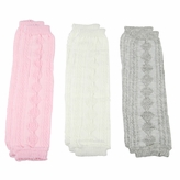 *SOLD OUT*Baby Girl Knit Leg Warmers Set of 3 - Pink, Grey, White