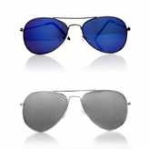 Hayden's Blue and Silver Aviator Style Baby Sunglasses Set of 2