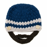 Large Beard Beanie - Blue Lumberjack Beanie Hat for kids and young adults. Soft, stretchable beard beanie hat size is 18 inches.