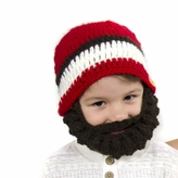 Medium Beard Beanie - Red Lumberjack Beard Hat for toddlers and kids. Soft stretchable beard beanie hat size is 16 inches