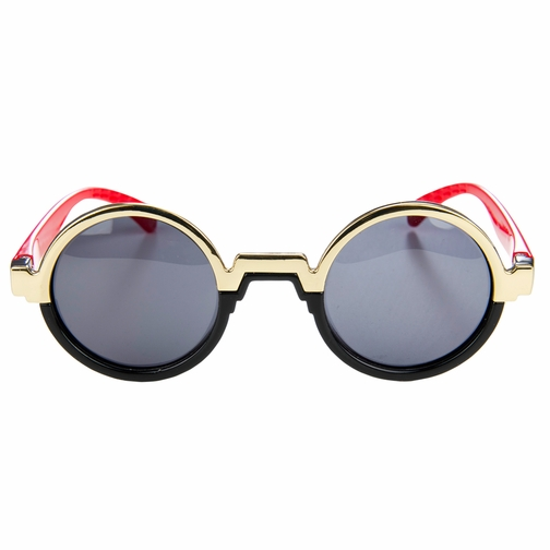 Polarized Black and Gold Round Toddler Sunglasses