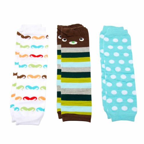 Baby Boy Leg Warmers Set of 3 - Mustache, Dots, Stripes