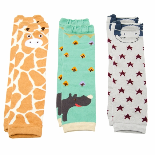 Baby Leg Warmers Safari Animals Set of 3 -  Giraffe, Elephant, Rhino
