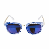 Kids UV400 Sunglasses - Blue Camo Print with Metal Frames  (ages 5+)