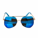 Kids UV400 Aviator Style Sunglasses with Gold Frame and Blue lens - (ages 5+)