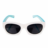 Flexible Kids Retro sunglasses - Polarized Glasses for Junior Boys, Girls - White/Turquoise