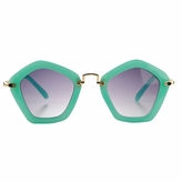Hailey's Little Girl's Turquoise Pentagon Frame UV400 Sunglasses