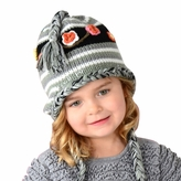 Medium Earflap Hat - Grey Hat with flowers for Toddler and Kid
