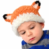 Medium Fuzzy Fox Beanie - Orange Fox Hat with Ears for Toddler and Kid