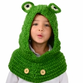 Large Frog Hood - Green Frog Hood and cowl for kid to adult
