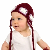 Medium Earflap Beanie - Red Earflap Hat for Toddler and Kid. Stretchable beanie size 16 inches.