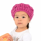 Small Knit Beret - Fuchsia Beret hat for toddler. Stretchable kid beret, size 14 inches.