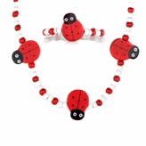 Little Girl Red Wooden Lady Bug Jewelry Set
