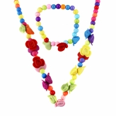 Little Girl Colorful Flower Bead Jewelry Set - Necklace and Bracelet