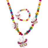 Wooden Bead Jewelry Set for Girls - Colorful wooden beaded Butterfly Necklace and bracelet set - Play Jewelry - 15 inches