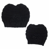 Black Mommy and Me Beanie Set - Girl Toddler Kid Adult