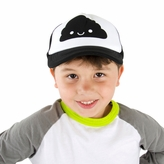 Black Mesh Happy Cloud Trucker Hat with Snapback Adjustable Strap