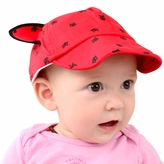Baby Hat with Ears - Red Cat Print Baseball Hat with Adjustable Velcro