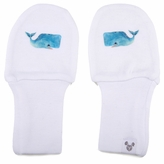 Newborn Stay On Cotton White Baby Mittens - Whale