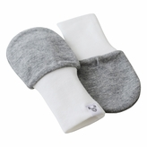 Grey Baby Mittens, large for 6 to 12 months old, 100% cotton, value pack set of 2