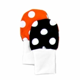 No Scratch Stay On Baby Mittens - Orange and Black Dots (6-12m)