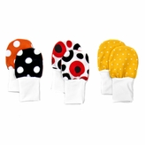 Soft Flannel Baby Mittens Set of 3 -Red, Black, and Orange Dots, Fits larger baby hands age 0 - 6 Months.