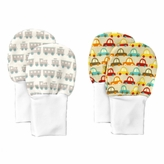 No Scratch Stay On Baby Mittens Set of 2 - Cars and Trains (0 - 6m)
