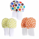 No Scratch Baby Mittens Set of 3 - Orange and Green Dots and Elephants 0-6m