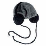 Grey Beanie with Headphones - Baby Boy Girl Toddler (Small)