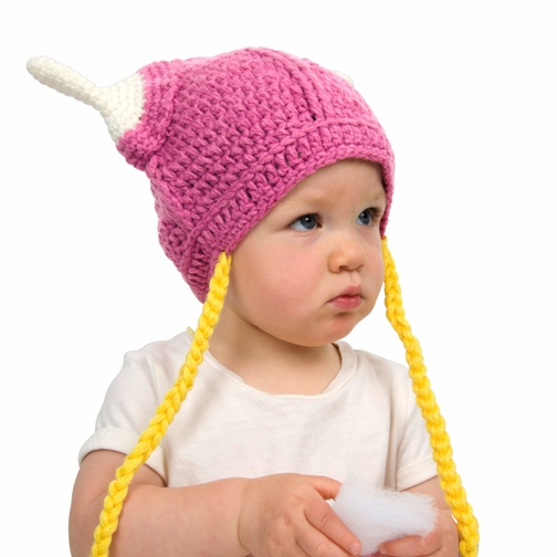 Pink Viking Beanie Hat with braids for Girl Baby or Toddler. 36 cm or 14 Inches