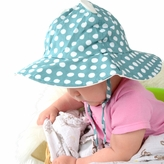 *SOLD OUT*Baby Sun Hat with Ears - Teal Polka Dot Print Wide Brim Bucket Hat