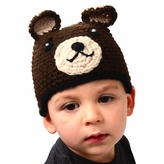 Medium Bear Beanie - Brown Bear Hat with Ears for Toddlers. Stretchable bear beanie, size 16 inches.
