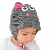 *SOLD OUT*Medium Hippo Beanie - Grey Hippo Hat with Ears for Toddlers. Stretchable hippo beanie, size 16 inches.