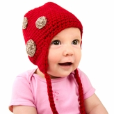 Medium Earflap Beanie - Red with Brown Spots Earflap Hat for Toddler and Kid. Stretchable beanie size 16 inches.