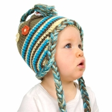 Medium Earflap Hat - Green Hat with flowers for Toddler and Kid