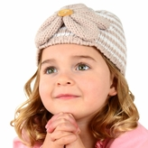 Medium Flower Beanie - Tan Striped Flower Hat for Toddler and Kid