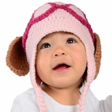 Large Puppy hat - Pink Puppy Dog Hat with Floppy Ears