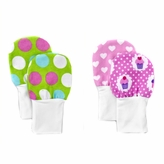 Newborn Baby Mittens, Dots & Cupcakes, No Scratch Flannel Mittens, Set of 2