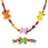 Multicolor Wooden Necklace and Bracelet Set - Bunny