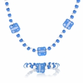 Blue Wooden Necklace and Bracelet Set - Butterfly
