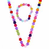 Riley's Little Girl Rainbow Flower Necklace and Bracelet Set