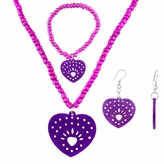 Little Girl Purple Heart Jewelry Set - Necklace, Bracelet, and Earrings