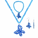 Little Girl Blue Butterfly Jewelry Set - Necklace, Bracelet, and Earrings
