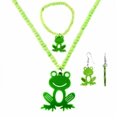 Little Girl Green Frog Jewelry Set - Necklace, Bracelet, and Earrings