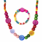 Natalie's Little Girl Multicolor Wooden Bead Jewelry Set