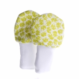 Baby Mittens - Green Elephants, No Scratch Flannel, 6-12 months, Set of 2